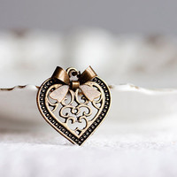 Bow Heart Necklace Floral Heart Cute Bow Necklace Antiqued Brass Sweet Necklace Heart Jewelry - N163