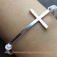 Antique Silvery Cross Bracelet charm bracelet white rope bracelet love bracelet