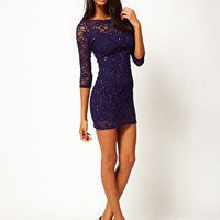 Lipsy Lace Sequin Bodycon Dress at asos.com