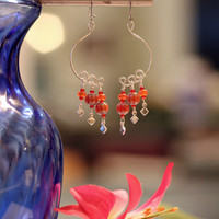 Bright Orange Moon Shaped Earrings with Silver Plated Diamond Drops