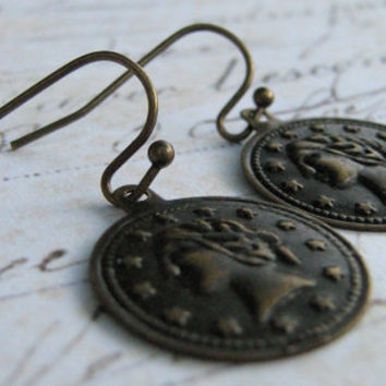Coin Earrings, Vintage Antiqued Brass Coin Dangle Earrings - Liberty Coin Antiqued Brass