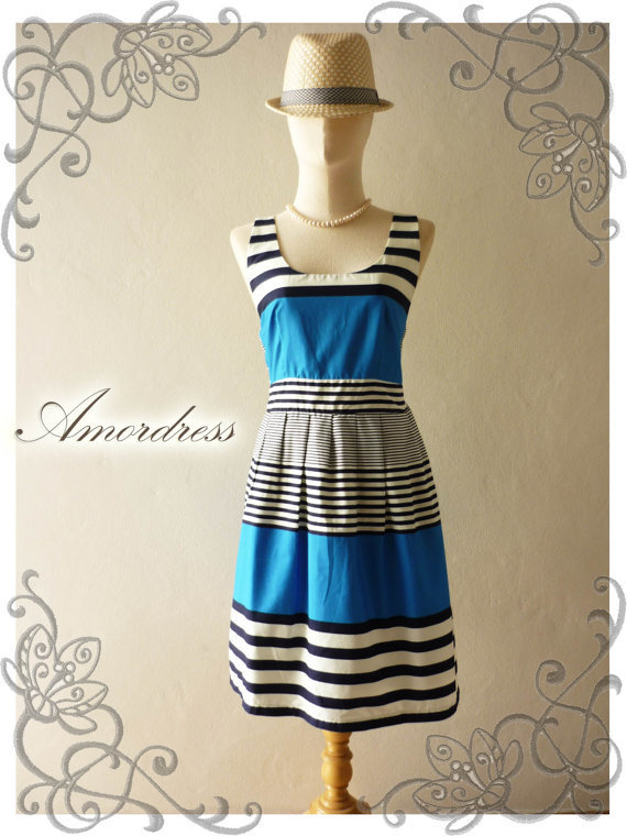 SALE TODAY--Amor Vintage Inspired- Chilling Princess- Pop Blue Shade Cotton Dress for Any Occasion-Fit S-M-