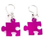 Puzzle Earrings,Plexiglass Jewelry,Lasercut Acrylic,Gifts Under 25