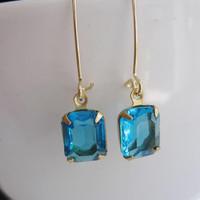 Vintage Carribean Rectangle Glass Earrings Gold Small Kidney Earwires - Understated Bridal Wedding Jewelry Everyday Wear