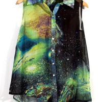 Galaxy Print Asymmetric Top by Chic+ - Retro, Indie and Unique Fashion