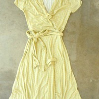 Yellow Song Bird Wrap Dress [2309] - $42.00 : Vintage Inspired Clothing &amp; Affordable Summer Dresses, deloom | Modern. Vintage. Crafted.