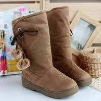 Pompom Comfy Winter Boots Light Brown