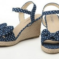 Denim Polka Dots Wedges Deep Blue