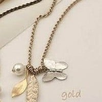 Nature Game Golden Leaf Butterfly Necklace