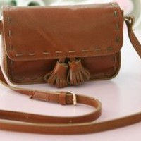 Needle Stitch Satchel Brown