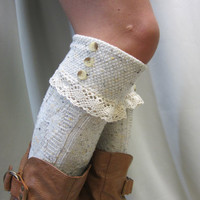 Oatmeal speckle  Lace CUFF Boot Sock OOAK Something special for your tall boots  tweed cable knit long knee socks w/ 2 buttons, cotton lace