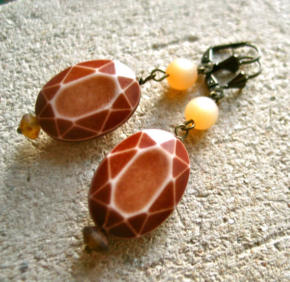 geometric earrings brown cream turtle pattern