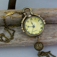 Antique Style Round Glass Ball Pocket Watch, Long Chain Pocket Watch