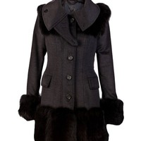 Burberry Fur Trim Coat - Curve - farfetch.com