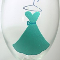 Bridesmaid Wine Glass Handpainted on Luulla