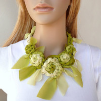 Silk Chiffon Green Flower Fiber Necklace Shabby Chic Fashion Accessory Crochet Unique Fabric Necklace