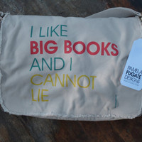 I Like Big Books And I Cannot Lie - Custom Cotton Canvas Messenger Bag Tote - FREE SHIPPING