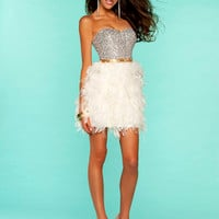 Ivory & Gold Sequin & Feather Strapless Short Homecoming Dress - Unique Vintage - Homecoming Dresses, Pinup & Prom Dresses.