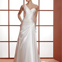 Elegant A-line one-shoulder court train satin simple Wedding Dresses WDSP0015