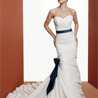 Mermaid strapless sweetheart blue sash sweep train taffeta satin Wedding Dresses WDSP0011
