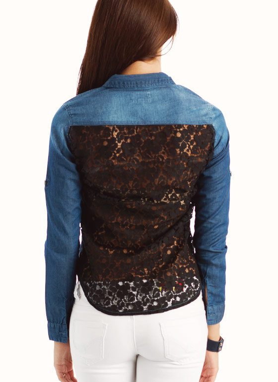 lace-back-denim-shirt DKBLUEBLK - GoJane.com