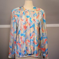 SALE 70s Brush Stroke Blouse