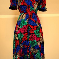 SALE 80s Colorful Print Party Dress