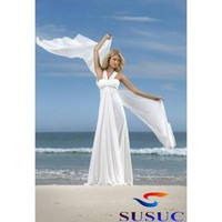 Buy Cheap Satin Sexy Halter with Empire Slim A-line Skirt Summer Beach Wedding Dress From China