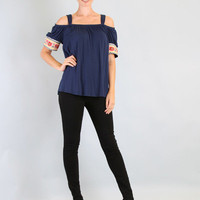 VaVa by VOOM Navy Off The Shoulder Bobby Blouse - Unique Vintage - Homecoming Dresses, Pinup & Prom Dresses.