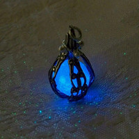 Mermaid's Magic Midnight Blue - Caged Pendant with Glowing Essence of the Sea - Amazing Glow in the Dark Effects