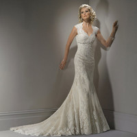 2011 Maggie Sottero Bridal - Ivory &amp; Light Gold Scalloped Lace Open Back Cap Sleeve Bernadette Wedding Gown - 0 - 28 - Unique Vintage - Bridesmaid &amp; Wedding Dresses
