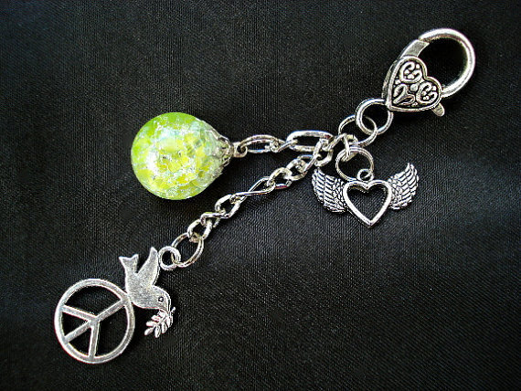 Love and Peace Dove Fried Marble Winged Heart Lime Keychain