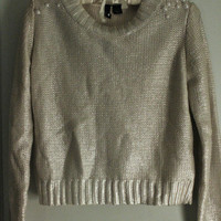 Silver Coated Sweater with Pearl Embellished Shoulders