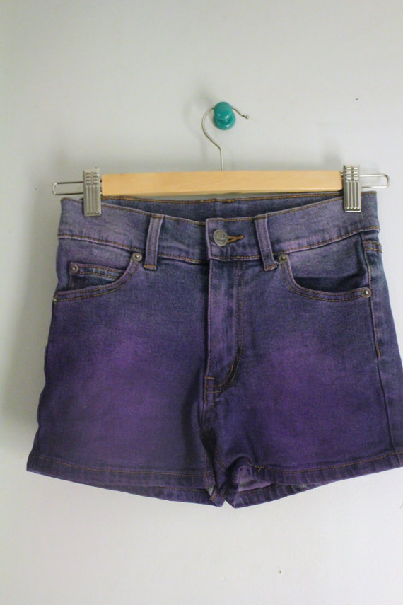 Purple High-Waisted Denim Shorts