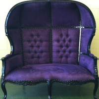 Blue and Purple Porters Sofa Chair Domed Bonnet Throne King Chair Lunge