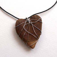 "Wooden Heart Necklace Wrapped in Silvertone Wire on Black Cord, ""Up-cycled"" jewelry"