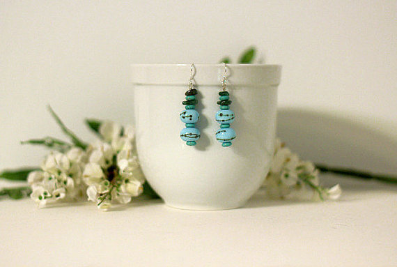Dangle Earrings with Beautiful Blue Lamp-worked Glass beads