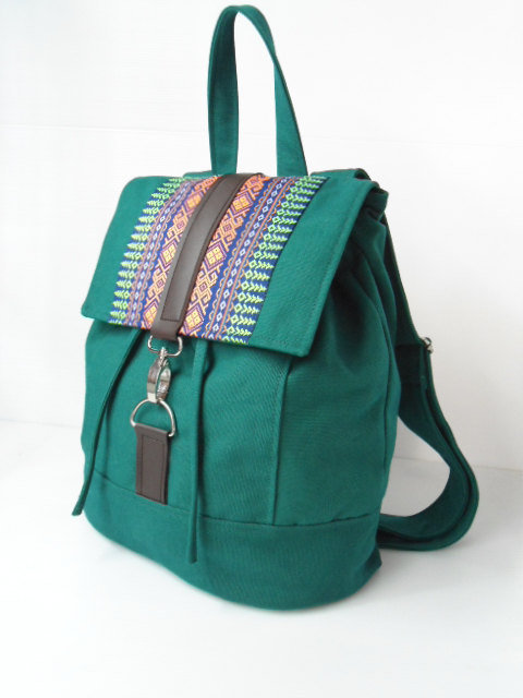 Green canvas and homespun Backpack--handmade bag /Backpack/ Messenger / Rucksack/Adjustable strap--green canvas fabric by lalitathaicraft