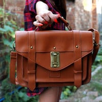 YESSTYLE: 19th Street- Studded Satchel (Brown - One Size) - Free International Shipping on orders over $150