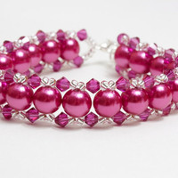 Berry glass pearls and Swarovski bracelet