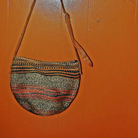 Vintage 70s Purse // Leather Strap // Wicker // Striped Oranges, Blues, Reds //  Excellent