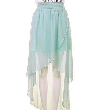 Women Summer Asymetrical Front Short Back Long Split Stye Chiffon Green Dress S/M/L@TS120151gr $28.71 only in eFexcity.com.