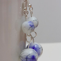 Iris blue dangle earrings