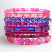 Memory Wire Bracelet Calming Pink Agate and Purple Stacked Beaded Wrap