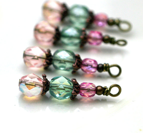 Vintage Style Peach Green and Pink Czech Crystal Bead Dangle Charm Drop Set - 4 Piece