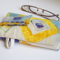 Eyeglass Gadget Pouch Canvas Painted Yellow Purple Blue Snap Tab to secure and inside divider, soft lining