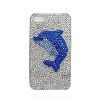 Handmade hard case for iPhone 4 & 4S: Bling cute dolphin (customized arte welcome)