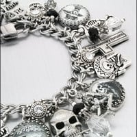 Day of the Dead Charm Bracelet, Dia de los Muertos silver Charm Bracelet, Day of the Dead Jewelry