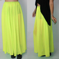 Neon Yellow Sheer Maxi Skirt