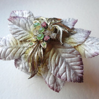 Gold and Silver Cuff Bracelet with Velvet Millinery Leaves